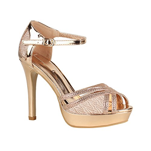 Stiefelparadies Damen Pumps Plateau Sandaletten Stiletto High Heels Riemchensandaletten Metallic Party Schuhe 155952 Rose Gold Spitze 39 Flandell