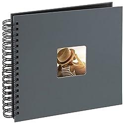 Hama Fotoalbum, 28 x 24 cm, 50 schwarze Seiten, 25 Blatt, mit Ausschnitt für Bildeinschub, Fotobuch grau