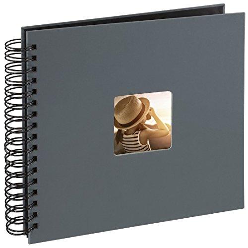Hama Fotoalbum (28 x 24 cm, 50 schwarze Seiten, 25 Blatt, mit Ausschnitt für Bildeinschub, Fotobuch) grau