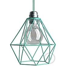 Jaula lámpara desnuda Diamond metal color Turquesa casquillo E27