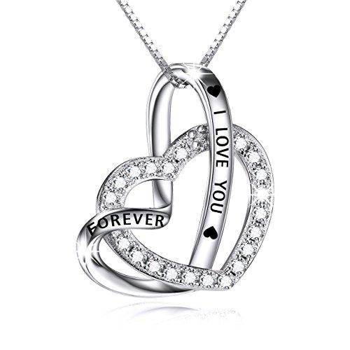 Kette Damen Sterling Silber Herz Anhänger Halskette I Love You Forever Zirkonia Ketten für Damen