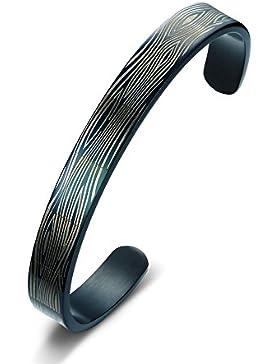 joielavie Schmuck Armband Armreif Manschette offenes Ende C Form Labyrinth Streifen Muster Gravur Schwarz vergoldet...