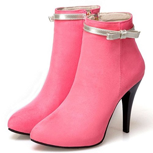 COOLCEPT Femmes Simple Courte Bottes Aiguille Avec Fermeture Eclair pink