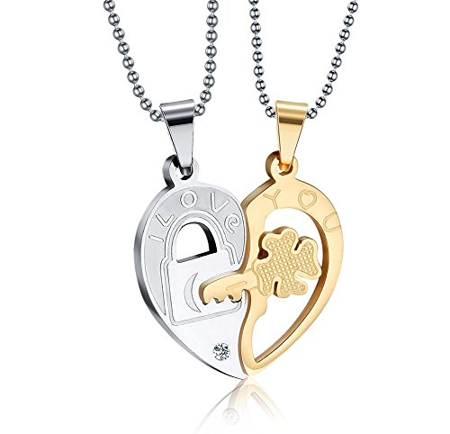 Vnox Edelstahl Schlüssel zum Herz Puzzlespiel Mann Paar hängende Halskette,Gold u Silber,freie Kette (10k Gold Armband 5mm)