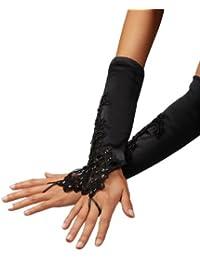 Austen - 9201 Elegante fingerlose Handschuhe in Schwarz