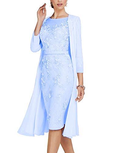 ShineGown Mutter des Bräutigams Kleider Damen 2 Stück Knielangen Spitze Chiffon Brautkleid. -
