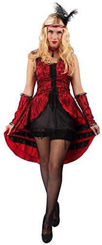 Can Can Tänzerin-Kostüm Set in Rot-Schwarz | Größe: 36 / 38 | Burlesque-Kostüm für Karneval & Fasching | Damen-Kostüm & Showgirl-Verkleidung mit Accessoires für Motto-Party | Saloon-Girl (Günstige Burlesque Tanz Kostüme)