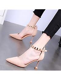 KPHY Chaussures De Femme Printemps Moyenne Au Creux Des Chaussures En Cuir Chaussures Épaisses Boucles 7Cm Talons Hauts Talons Seul Les Chaussures.Quarante Black