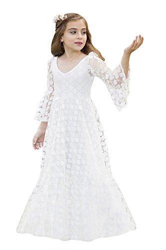 Langarm Prinzessin Kleider Mädchen Festlich Spitze Blumenmädchen Kleider Ivory 130