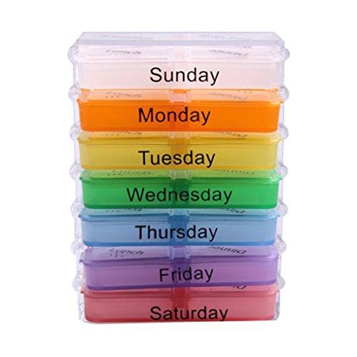 r, wöchentlich 7-tägige Pillendose für Office Travel Pillendose Vitamine Tablette Medizin Aufbewahrungspille AM PM 7 Tage sortieren Box Behälter Fall Halter ()