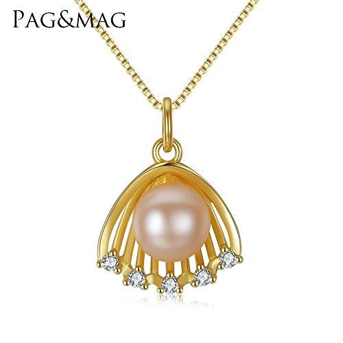 Haixin Bijoux de perle pendentif S925 argent Sterling pétoncle chaîne de placage collier 18K or long 42 + 3cm (réglable)