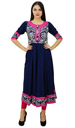Bimba Blau Kurti Rayon flaired Kurta langes Kleid gestaltete Kleidung Blau