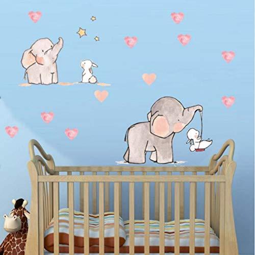 Pegatina De Pared Pegatinasetiqueta De La Pared Para La Habitación Del Bebé Animal Lindo Elefante Conejo Vinilo Tatuajes De Pared Para Niños Guardería Habitación De Las Niñas Decoración De La Pared