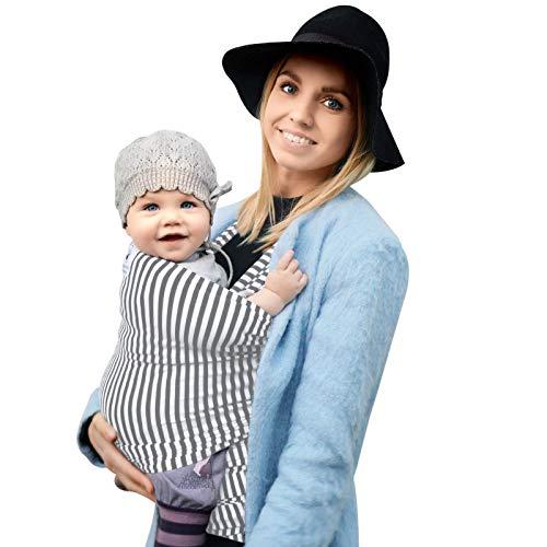 Fastique Kids® Babytragetuch - elastisches Tragetuch für Früh- und Neugeborene Kleinkinder - inkl. Baby Wrap Carrier Anleitung (weiss/grau)