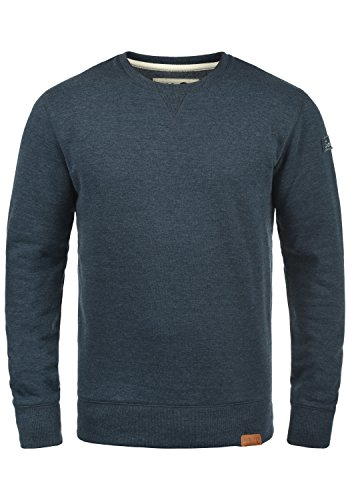 !Solid Trip O-Neck Herren Sweatshirt Pullover Pulli Mit Rundhalsausschnitt Und Fleece-Innenseite, Größe:L, Farbe:Insignia Blue Melange (8991) -