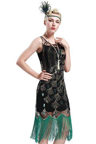 BABEYOND Damen Pailletten Pfau Feder Muster Lange Kleider mit Troddel Ohne Arm Damen Retro Kostüm Kleid (Schwarz mit grüner Troddel, Größe L/ UK16/ EU44)