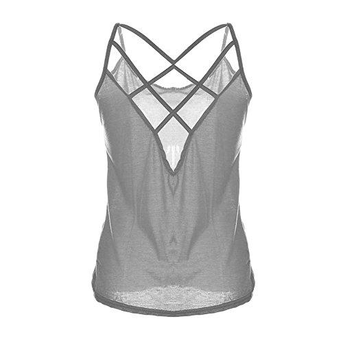 LAEMILIA Débardeur Femme Sans Manches Dos Nu Sexy Bretelles Tops Gilet Vest T-shirt Blouse Haut Été Clubwear Plage Gris