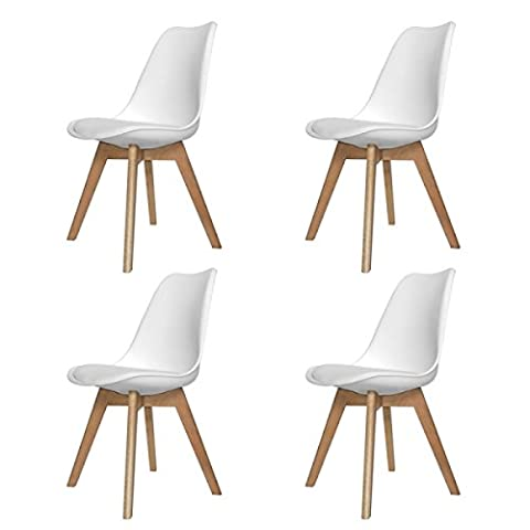 PACK 4 CHAISES NEW TOWER WOOD BLANCH