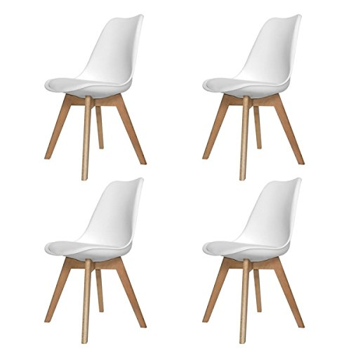 Ventamueblesonline PACK 4 SILLAS NÓRDICAS NEW TOWER WOOD BLANCA - RÉPLICA EAMES -
