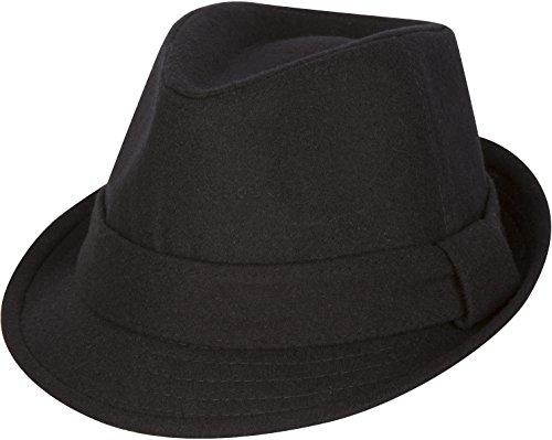 Sakkas Unisexe Chapeau d'hiver Fedora Laine Structuré (3 Couleurs) Noir