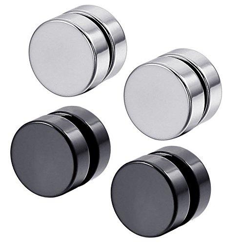 Konov Jewellery Mens Stainless Steel 2 Pairs Round Magnetic Stud Earrings Set, Silver Black (with Gift Bag)