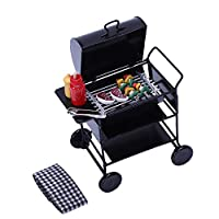 TOOGOO 1:12 Doll House Diy Barbecue Car + Barbecue Accessories Miniature Doll House Food Barbecue Doll Decoration Toys Children Toys Kitchen Toys Miniature Metal Grill