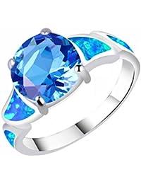 C.QUAN CHI - Anillo de Plata para Mujer con Piedras Preciosas de Cristal Redondas