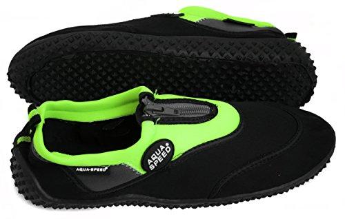 AQUA-SPEED® SCARPE di AQUA Modello 4A (35-45 Unisex Struttura Anti-scivolo Cerniera + UP®-Catena chiave) Nero / Verde - 15.3
