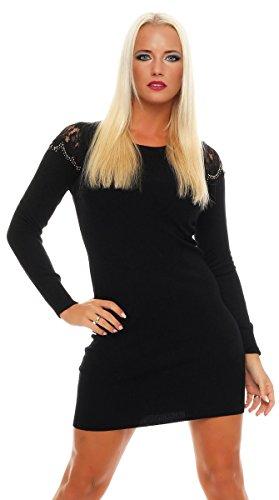 4269 Fashion4Young Damen Longpullover Strickkleid Pullover Long Feinstrick Long Pulli Minikleid (S/M=34/36, Dunkelblau)