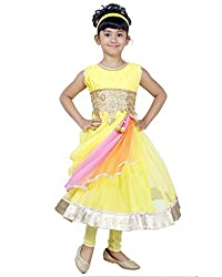 JBN Creation Yellow Girls Kurti and Leggings set with embroidered waist line and knotted dupatta