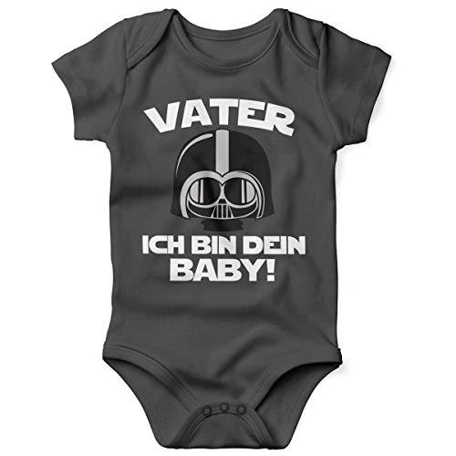Mikalino Babybody mit Spruch für Jungen Mädchen Unisex Kurzarm Vater - ich Bin Dein Baby! | handbedruckt in Deutschland | Handmade with Love, Farbe:Darkgrey, - Baby Jungen Star Wars Kostüm