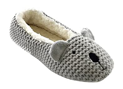 Womens/Ladies Footwear Knitted Cat, Koala & Pig Face Flat Ballet Slippers, Grey Koala UK: 7/8, EUR: 40/41