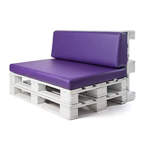 Conjunto colchoneta para sofas de palet y respaldo Lila (1 x Unidad) Cojin relleno con espuma. | Cojines para chill out, interior y exterior, jardin | No incluye palet