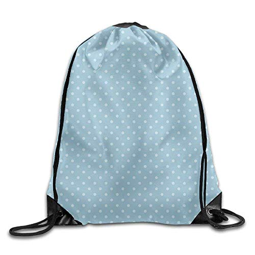 ZHIZIQIU Casual Drawstring Backpack Bag Men Women - Sports Gym Sack Sackpack Yoga Dance Travel Daypack - (Small White Polka Dots - Blue) -