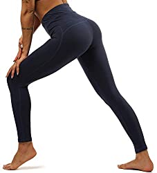 Yavero Sporthose Damen High Waist Blinkdicht Sport Leggings Elastische Tummy Control Yogahose Lange Laufhose mit Taschen,Stil:Dunkelblau L