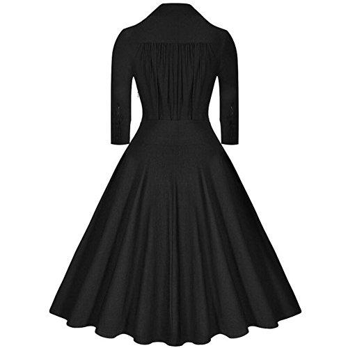 Rétro Années 50's Style Audrey Hepburn Rockabilly Swing Pin-Up Robe de Bal Noir