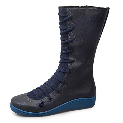 Suitray Damen Boots Mode Herbst Winter PU Leder Schuhe Freizeit Midi-Tube Stiefel Anti-Rutsch Schnürschuhe Lange Stiefeletten Lederschuhe Flache Schuhe Dating Einkaufen Strassenmode