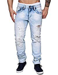 Jeansnet Herren Jeans Slim Fit · Helle Jeanshose · Used-Look · Löcher ·  Risse · Stretch · Denim-Optik · Tapered Leg ·… f67add5426