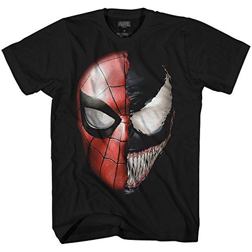 Venom Spidey Faces Herren T-Shirt Spiderman Avengers Bösewicht Comic Book - Schwarz - Groß