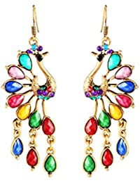 The Jewelbox® Traditional Peacock AAA Crystal Multicolor 22K Gold Plated Copper Dangle Drop Earring Girls Women