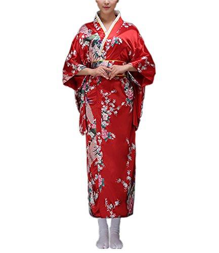 Nuoqi Damen japanischen traditionellen Kimono Cosplay Kostüme Bademantel Dressing Kleid (rot, ()