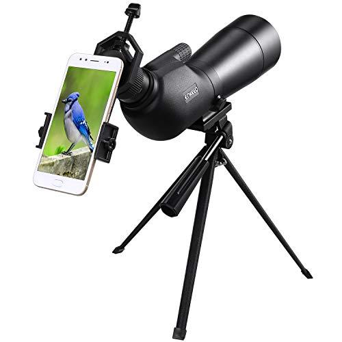 Enkeeo 20-60X60AE Longue-Vue Téléscope Monoculaire, Spotting Scope avec Trépied, BAK-4 Prisme, Zoom Optique 41-21m / 1000m pour des Exercices de Tir en Extérieur