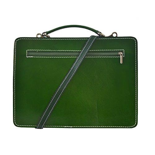 CTM Unisex Business Tasche, Aktentasche, Organizer in italienischem Leder Made in Italy D7006 - 35x25x12 Cm Grün