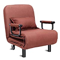 CASART. 2-in-1 Sofa Bed Folding Futon Chair W/Pillow & Wheels for Single Sleep Guest Home Bedroom Living Room Office Indoor (Coffee Sofa)