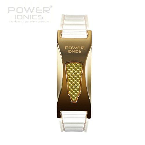Power Ionics Bracelet Armband Powerarmband PowerIonics Ionenarmband Energie Wristband Magnet Armband 2000ioncs Smart Sports Bracelet Wristband PT057S (Gold/White)