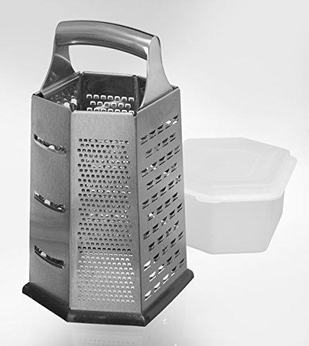 Küchenreibe, 6-seitig, mit Auffangbehälter - Edelstahl