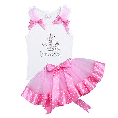 n Kleidung Kleid 2er Set aus Shirt und Rock Prinzessin Kleinkind Outfits Kostüm Tütü Rock Pettiskirt Bowknot Polka Dots (für 9-18 Monate) White&Pink 9-12 Monate (White Tutu Kostüme)