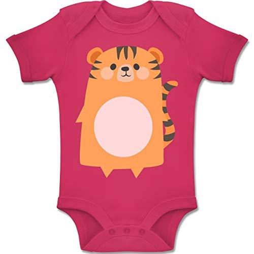 Monat 6 Tiger 3 Kostüm - Shirtracer Karneval und Fasching Baby - Kostüm Fasching Tiger - 3-6 Monate - Fuchsia - BZ10 - Baby Body Kurzarm Jungen Mädchen
