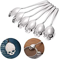 6 Skull Sugar Spoons FOXAS Skull Spoon Sugar spoons 304 Stainless Steel Tea and Coffee Stirring Spoon Kitchen quality spoon Set of 6 Cool and stylish design ideal gift for spoon collectors (18/10 Chromium Nickel)