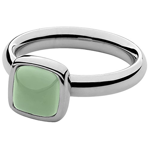 Qudo Ring Edelstahl mit pastellgrünem Glasstein RG 58 646104